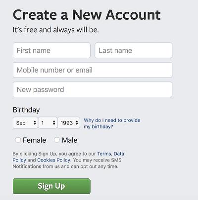 注册Facebook账户
