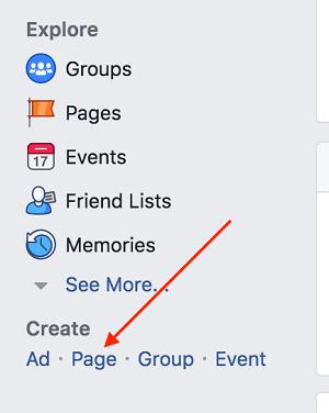 创建Facebook专页
