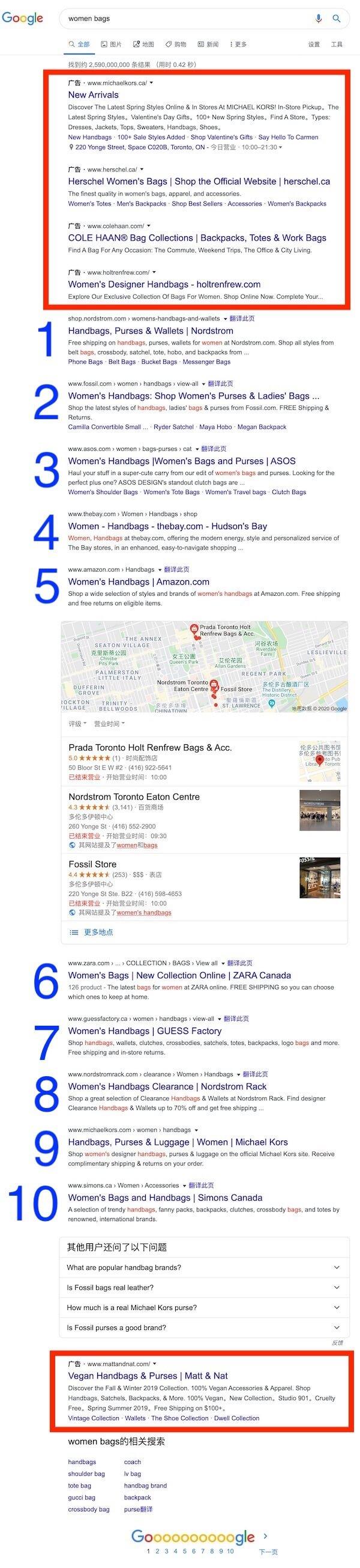 谷歌搜索结果页面