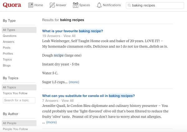 在Quora里搜索你的关键词