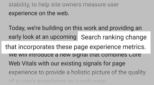 核心网页指标将会直接影响页面排名
