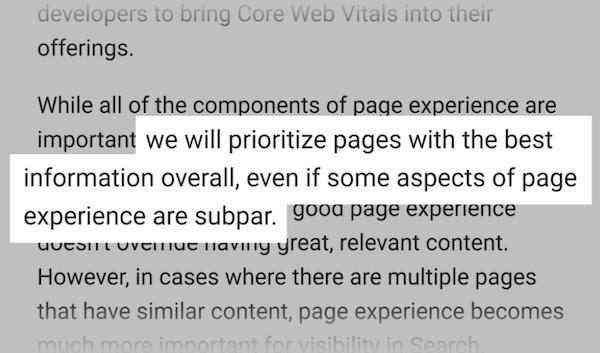 核心网页指标并不会被定性为排名的决定性因素