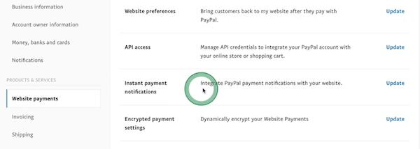 """设置""""Instant payment notifications"""""""