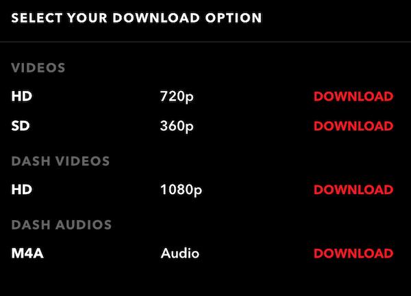 不同清晰度的下载选项
