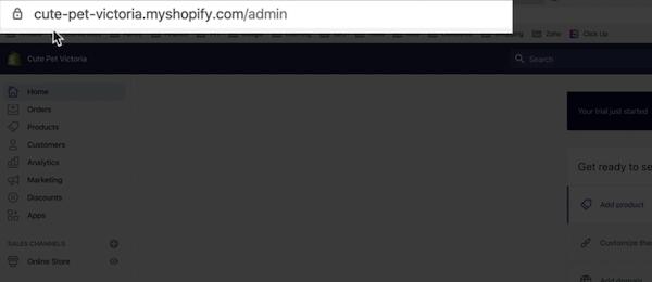 shopify后台地址